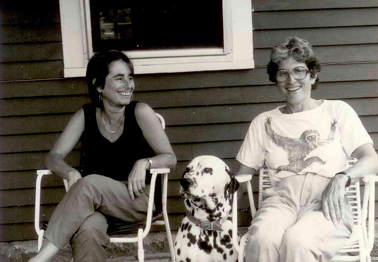 Alicia Ostriker with Gus at Pobiz Farm